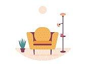 Interior design home. Modern sofa armchair, plant and floor lamp