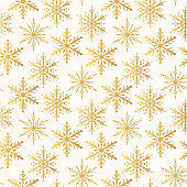 Golden snowflakes seamless pattern. Magic holiday texture for Merry Christmas. Vector isolated winter gold festive background for wrapping paper.