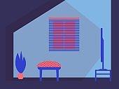 Interior design home. TV, armchair, plant, window