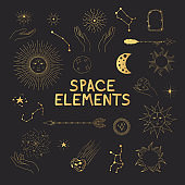 Set of hand drawn space elements. Golden sun with face, falling star, comet, planet, zodiac sign, hands, crescent, half moon, starburst, arrows. Gold constellations, boho design doodle.