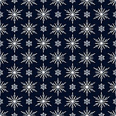 Merry Christmas snowflake seamless pattern. Magic holiday texture. Vector isolated winter festive background for wrapping paper.