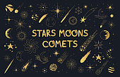 Golden pattern with stars, comets, planets, galaxy, sun and moon. Kids doodle gold space elements.