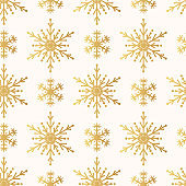 Hand drawn Merry Christmas golden snowflake seamless pattern. Festive winter holiday background. Vector isolated gold magic star texture for wrapping paper.