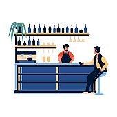 People in the bar cafe. Barista barman making drink at bar counter scene