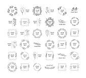 Big collection of hand drawn wedding branding, monograms with floral branches, flowers and herbs. Wreaths, frames and borders for elegant design. Vector isolated simple templates.