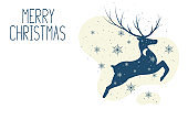 Christmas card template with reindeer, snowflakes and calligraphy lettering. Vector isolated border with deer silhouette. Holiday banner for noel invitations.