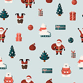 Merry christmas seamless pattern with gifts and presents. Holiday texture with santa claus, christmas tree and cute polar bear. Vector isolated background for xmas wrapping paper.