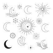 Hand drawn half moon set. Space icons, stars, starburst. Celestial design doodle.
