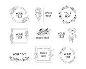 Collection of wreaths, frames and borders for elegant design. Hand drawn wedding branding set with monograms with floral branches, flowers and herbs.