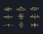 Gold vintage text separators. Golden filigree borders. Vector isolated swirl dividers. Classic wedding invitation calligraphic lines.