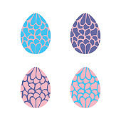Set of 4 hand drawn eggs for Easter greeting card