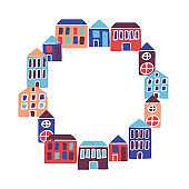 Frame with round houses. Modern flat hand drawn background card.
