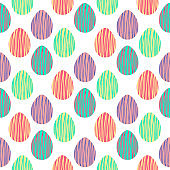 Seamless pattern with hand drawn Easter eggs