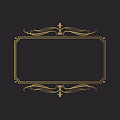 Hand drawn golden elegant rectangular swirl border in victorian style. Vector isolated luxury wedding invitation card template. Certificate frame with gold filigree decor scrolls.
