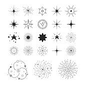 Stars, bursts, suns and galaxy. Vector isolated space sparkles. Sky design elements.