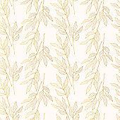 Seamless pattern with golden floral branches and herbs. Elegant gold botanical texture for wedding invitations. Vector isolated spring flourish background for textile.