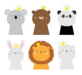 Bunny rabbit hare lion koala bear cat face head icon set. Kids print for poster, t-shirt. Cute kawaii cartoon funny baby character. Scandinavian style. Golden crown. Love Flat design. White background