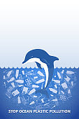 Stop ocean plastic pollution. Ecological poster. Dolphin in water with white plastic waste bag, bottle on blue background. Copy space place. Flat design.