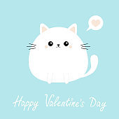 White cat kitten kitty icon. Happy Valentines Day. Funny head face. Cute kawaii cartoon round character. Pink heart. Baby greeting card template. Blue background. Flat design.