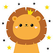 Lion face head icon. Cute kawaii animal. Golden crown, star sparkle. Cute cartoon funny baby character. Kids print for poster, t-shirt. Love. Scandinavian style. Flat design. White background.