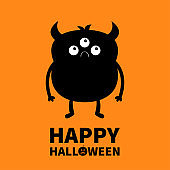 Happy Halloween. Monster black silhouette. Cute cartoon kawaii sad character icon. Eeyes, horns, hands. Funny baby collection. Orange background. Isolated. Flat design.
