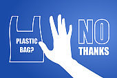 Problem plastic pollution. Ecological poster. Banner composed of white plastic bag and hand sign stop on blue background. Plastic bag, no thanks. Flat design.
