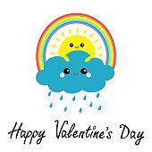 Happy Valentines Day. Sun, cloud, rainbow, rain set. Smiling sad face. Rain drop weather. Friends forever. Fluffy clouds. Cute cartoon cloudscape. Cloudy weather Flat design White background