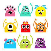 Happy Halloween. Monster face head icon set. Cute cartoon kawaii colorful scary funny character. Eyes, horns, hands up, tongue, fang teeth. Baby collection. White background. Flat design.