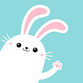 Bunny rabbit in the corner waving paw print hands. Yellow scarf. Cute kawaii cartoon funny smiling baby character. White farm animal. Happy Easter. Blue background. Isolated. Flat design