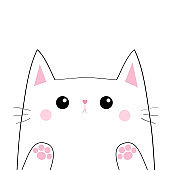 White cat head face silhouette. Black contour. Paw print hand. Pink blush cheeks. Funny Kawaii sad animal. Baby card. Cute cartoon funny character. Pet collection Flat design White background Isolated