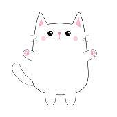 White cute sad cat baby kitten. Pink paw print hand hug. Blush cheeks. Contour silhouette. Kawaii animal. Cartoon kitty character. Funny face. Love Greeting card. Flat design. White background