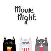 Cat set. Popcorn, soda, french fries. Movie night. Cinema theater. Cute cartoon funny character. Film show. Kitten in 3D glasses. Kids print for notebook cover. White background. Flat design
