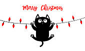 Merry Christmas lights. Cat hanging at lightbulb glowing garland. Colorful string fairy light set. Cone shape. Holiday festive xmas decoration. Flat design. White background.