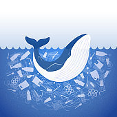 Stop ocean plastic pollution. Ecological poster whale in water with white plastic waste bag, bottle on blue background. Whale in garbage. Flat design.