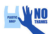 Problem plastic pollution. Ecological poster. Banner composed of blue plastic bag and hand sign stop on white background. Plastic bag, no thanks. Flat design.