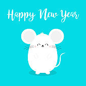 Cute mouse. Happy New Year 2020 sign symbol. Merry Christmas. Cartoon funny kawaii smiling baby character. Flat design. Blue winter background.