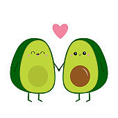 Avocado family. Mother, father holding hands. Pink heart. Cute cartoon kawaii funny character set. Love greeting card. Happy Valentines day. Healthy food. Flat design. White background.
