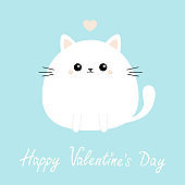 Happy Valentines Day. White cat kitten kitty icon. Funny head face. Cute kawaii cartoon round character. Pink heart. Baby greeting card template. Blue background. Flat design.