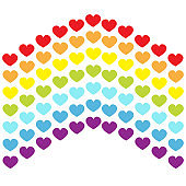 Rainbow flag line backdrop. Heart shape. LGBT gay symbol. Pride sign. Colorful line set. Flat design. Happy Valentines Day. Love is love. White background. Isolated.