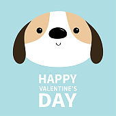 Happy Valentines Day. Dog face head round icon. White puppy pooch. Cute cartoon kawaii funny baby character. Flat design style. Help homeless animal . Adopt me. Pet adoption. Blue background.