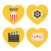 Pop corn heart icon set. 3D glasses. Movie reel. Open clapper board. Popcorn box package. Ticket Admit one. Three star. I love cinema. Flat design style. Yellow background.