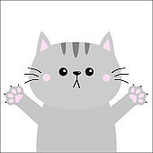 Gray cat ready for a hugging. Open hand pink paw print nails. Kitty reaching for a hug. Funny Kawaii animal. Baby card. Cute cartoon character. Pet collection. Flat design White background.