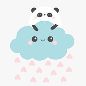 Happy Valentines Day. Panda bear face holding cloud in the sky. Rain heart drop. Cute cartoon kawaii funny smiling baby character. Nursery decoration. Kids print. White background. Flat design.