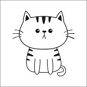 Linear cat sad head face silhouette. Contour line. Cute cartoon sitting kitty character. Kawaii animal. Funny baby kitten. Love Greeting card. Flat design. White background Isolated.