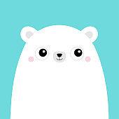 White polar bear cub face. Cute cartoon kawaii funny baby character. Arctic animal. Hello winter. Merry Christmas. Happy New Year. Flat design. Hello winter. Blue background.