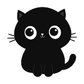Black cat kitten kitty icon. Cute kawaii cartoon character. Funny face with big eyes. Happy Valentines Day. Baby greeting card tshirt sticker template. White background. Isolated. Flat design.