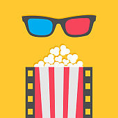 Popcorn. Film strip line. Pop corn. Red white box. 3D glasses. Cinema movie night icon. Poster template. Flat design style. Yellow background. Isolated.