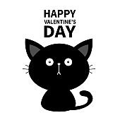 Happy Valentines Day. Black cute sitting Cat baby kitten silhouette. Kawaii animal. Cartoon kitty character. Funny face with eyes, mustaches. Love Greeting card. Flat design White background.