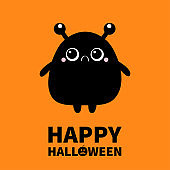 Happy Halloween. Monster silhouette. Cute kawaii cartoon black scary funny character icon. Eyes, horns, hands. Funny baby collection. Isolated. Orange background. Flat design.