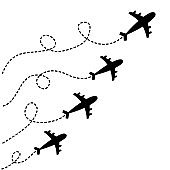Four plane icon set. Airplane flying. Black silhouette shape. Four dash line loop in the sky. Travel trace. Love romantic card. Flat design. White background. Isolated.